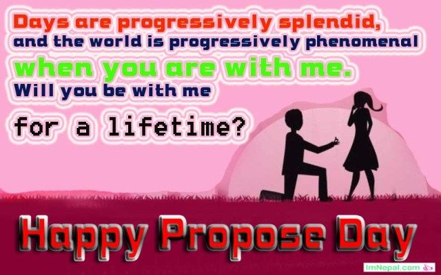 Happy Propose Day Messages wishes greetings sms text msg quotes cards wallpapers images pictures photos For Girlfriend From Boyfriend in English Valentines Day