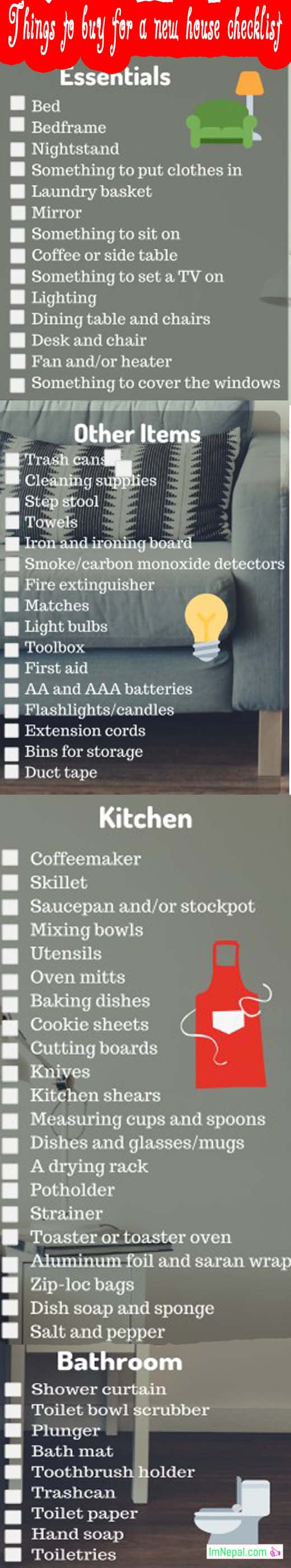 things to buy for a new house checklist