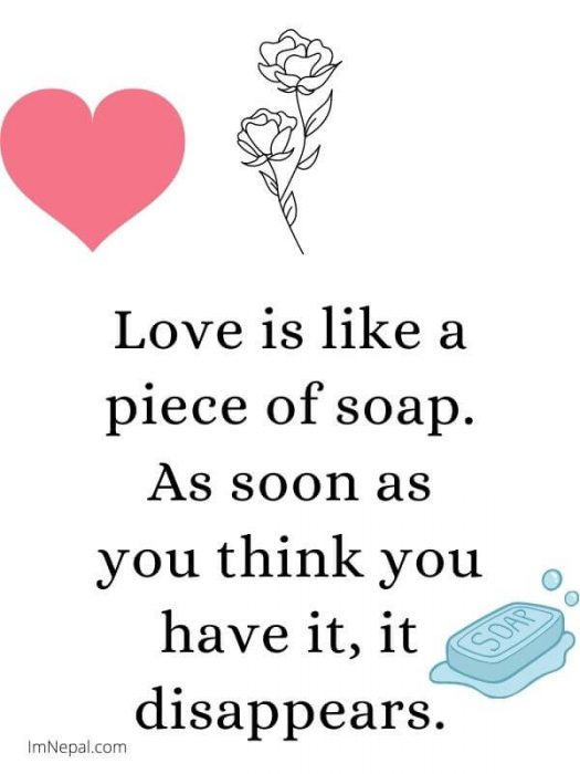 Love is like a piece of soap. As soon as you think you have it, it disappears. attitude status image