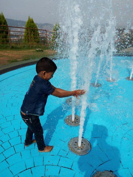 Chandragiri Hills Station Cable Car Kathmandu Nepal Photos Water Fountain Boy