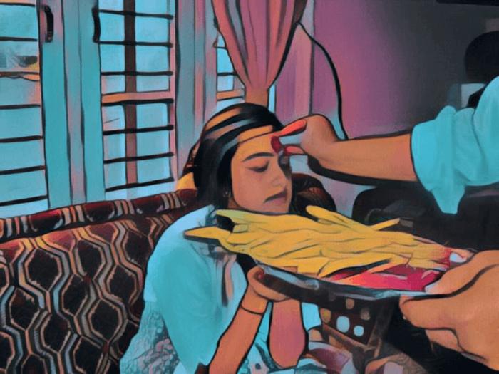 Dashain Vijayadashami Tika Paintings Sketch Image