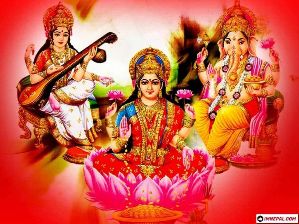 Hindu Goddess Laxmi, Saraswati & Lord Ganesha Photo