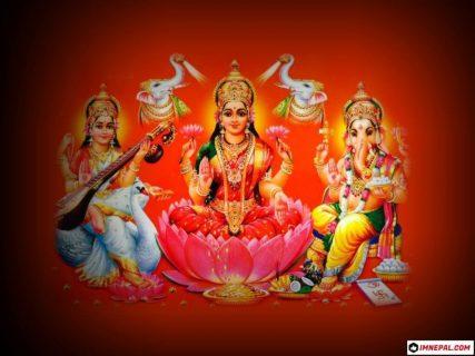 Hindu Goddess Laxmi, Saraswati & Lord Ganesha Photo