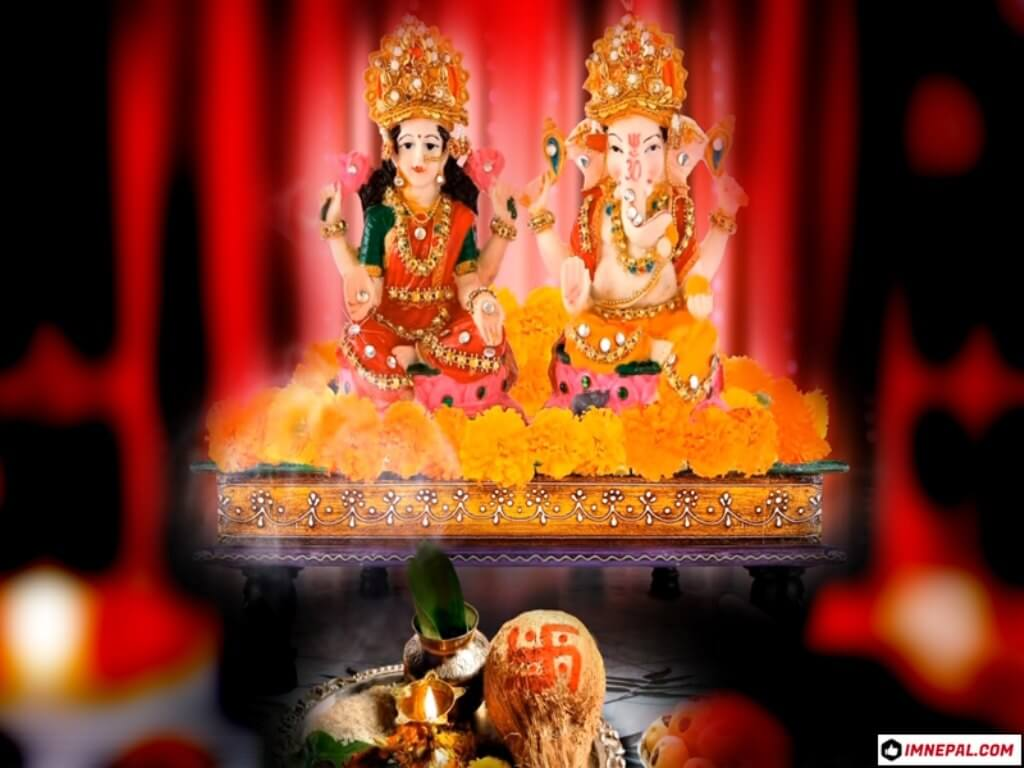 Hindu Goddess Laxmi & Lord Ganesha Photo