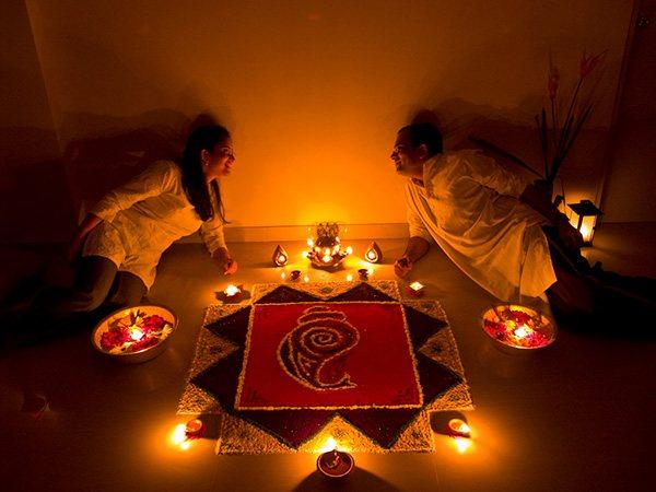 Cute couple on diwali