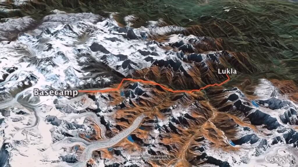 Lukla to Everest Basecamp Trek Route