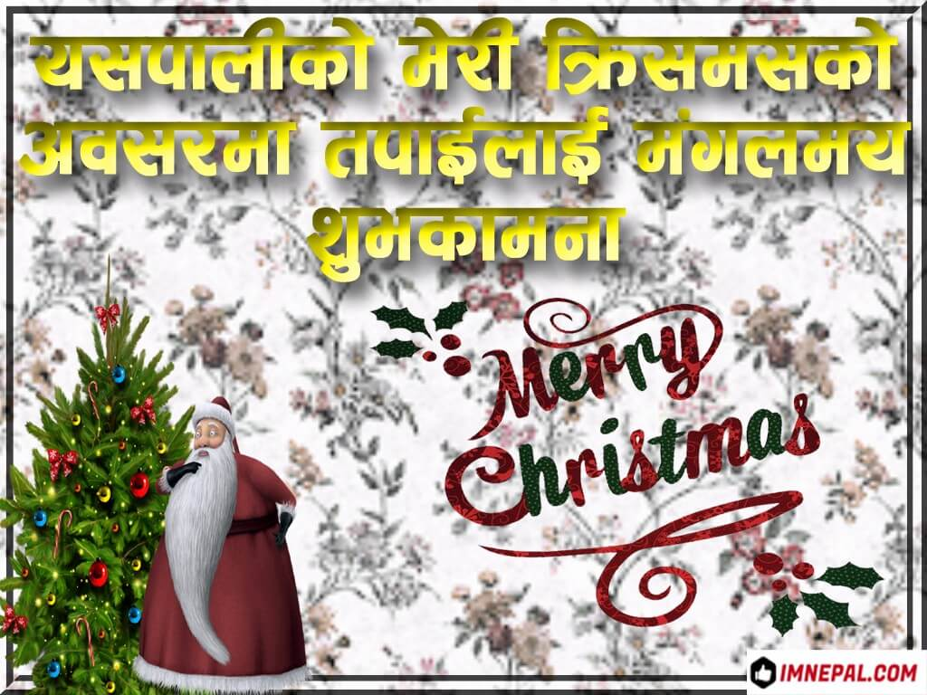 Merry Christmas Wishes Image in Nepali