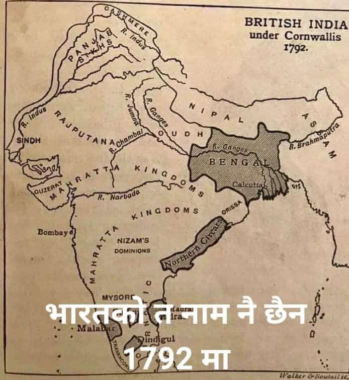 Map of British India in 1792