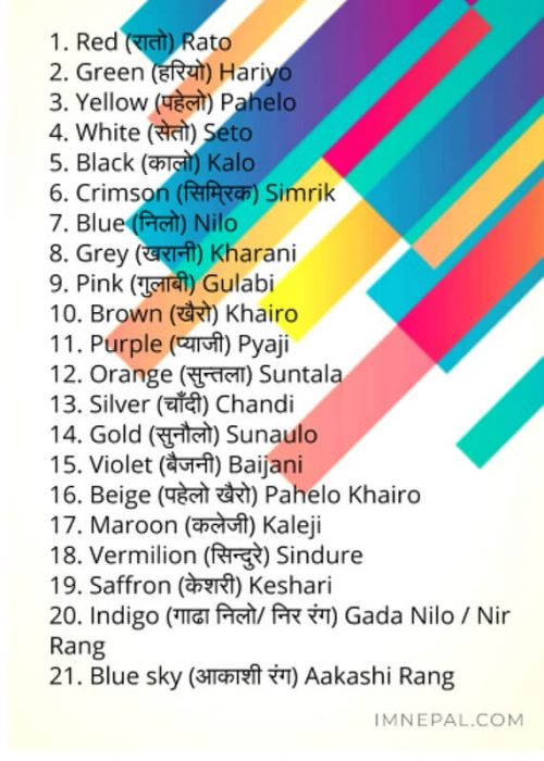 colors in Nepali name english
