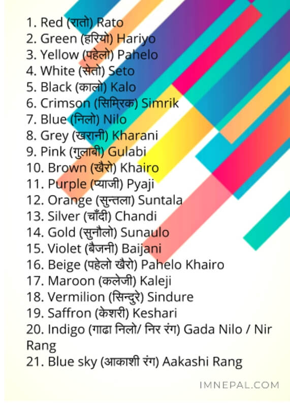 21 Colors in Nepali Name With English Meaning