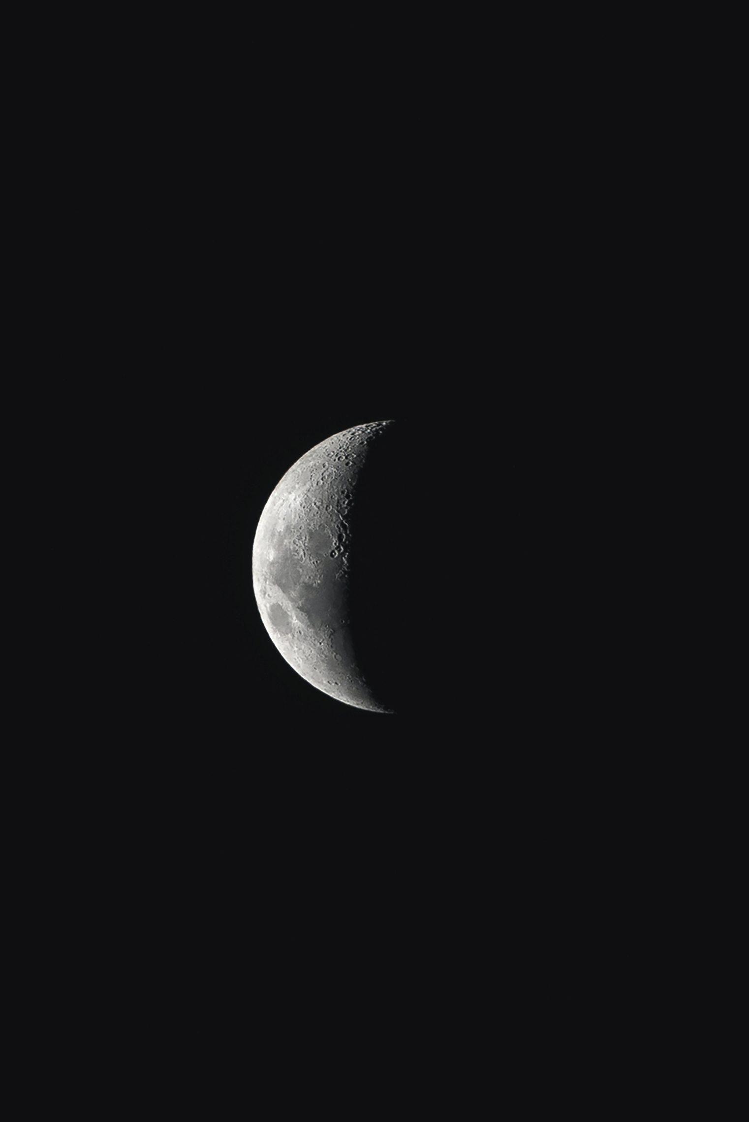 black wallpaper full moon in dark night