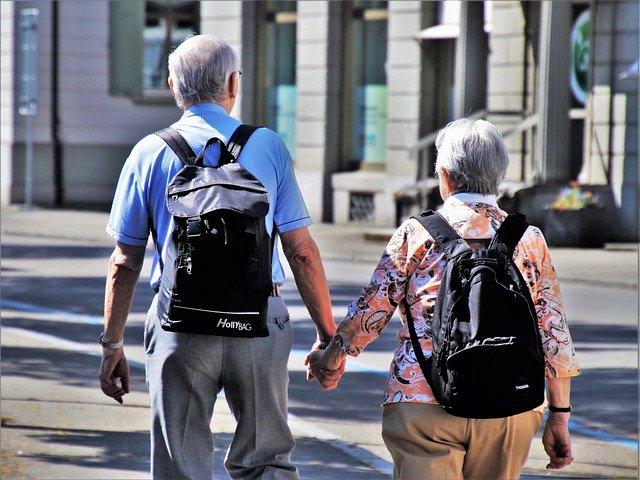 senior citizens travelling moving
